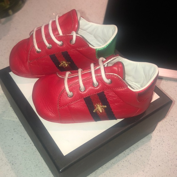 Gucci Shoes | Red Baby Bee Logo Booties